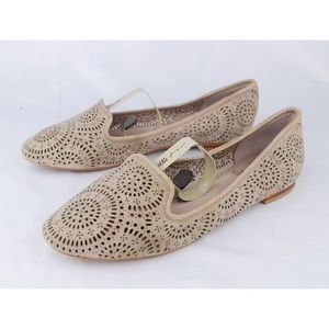 Vince Camuto Taupe Nubuck Leather Laser Cut Flats